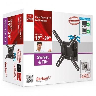 "BARKAN 2200.B 26""-39"" LED TV, 2 lankstų, sieninis, juodas 3"