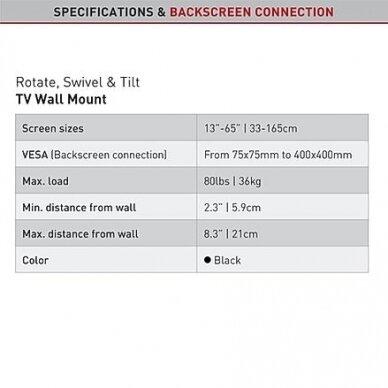 """BARKAN BM331T.B 13""""-65"""" TV, 3 lankstų, sieninis, juodas 4"""