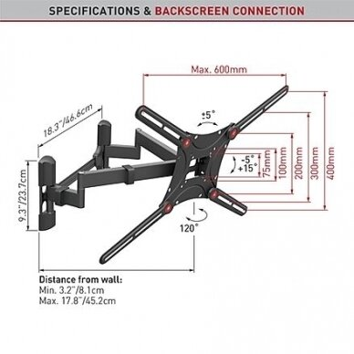 "BARKAN BM464 13""-90"" lygiam/lenktam TV, 4 lankstų, sieninis, juodas 2"