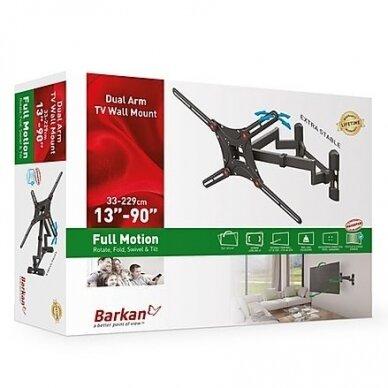 "BARKAN BM464 13""-90"" lygiam/lenktam TV, 4 lankstų, sieninis, juodas 5"