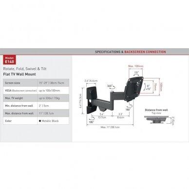 "BARKAN E140.B 26"" LCD, 4 lankstų, sieninis, juodas 2"