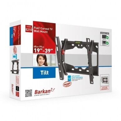 """BARKAN E210+.B 19""""-39"""" LED TV, pakreipiamas, sieninis, juodas 3"""