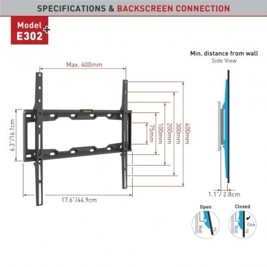 "BARKAN E302+.B 29""-65"" LED TV, fiksuotas, sieninis, juodas 2"